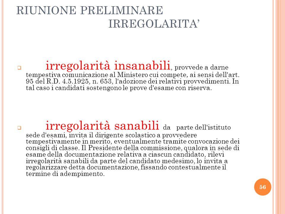 RIUNIONE PRELIMINARE IRREGOLARITA'