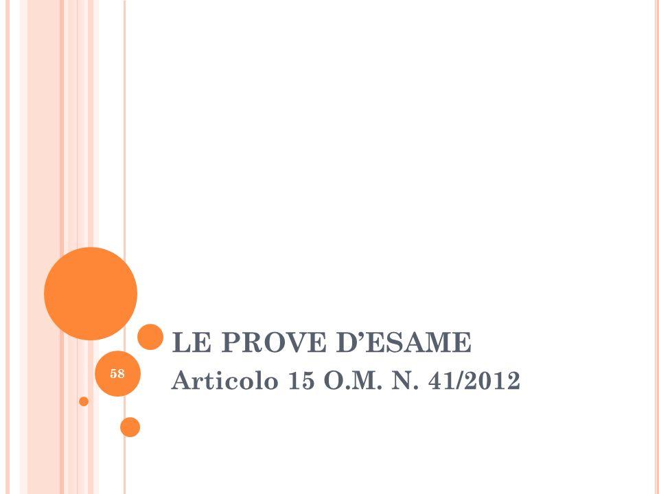 LE PROVE D'ESAME Articolo 15 O.M. N. 41/2012