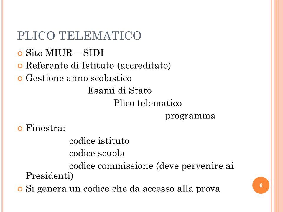 PLICO TELEMATICO Sito MIUR – SIDI Referente di Istituto (accreditato)