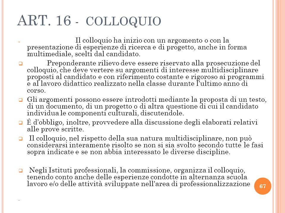 ART. 16 - COLLOQUIO