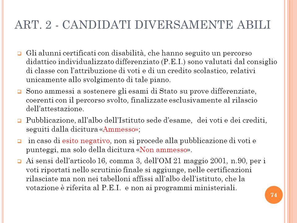 ART. 2 - CANDIDATI DIVERSAMENTE ABILI