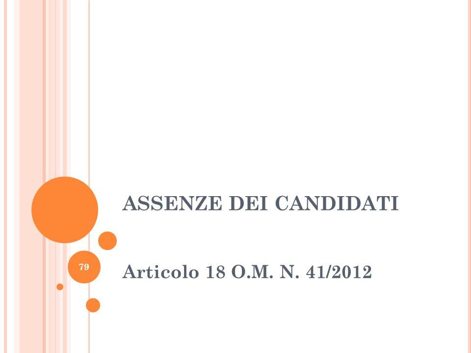 ASSENZE DEI CANDIDATI Articolo 18 O.M. N. 41/2012