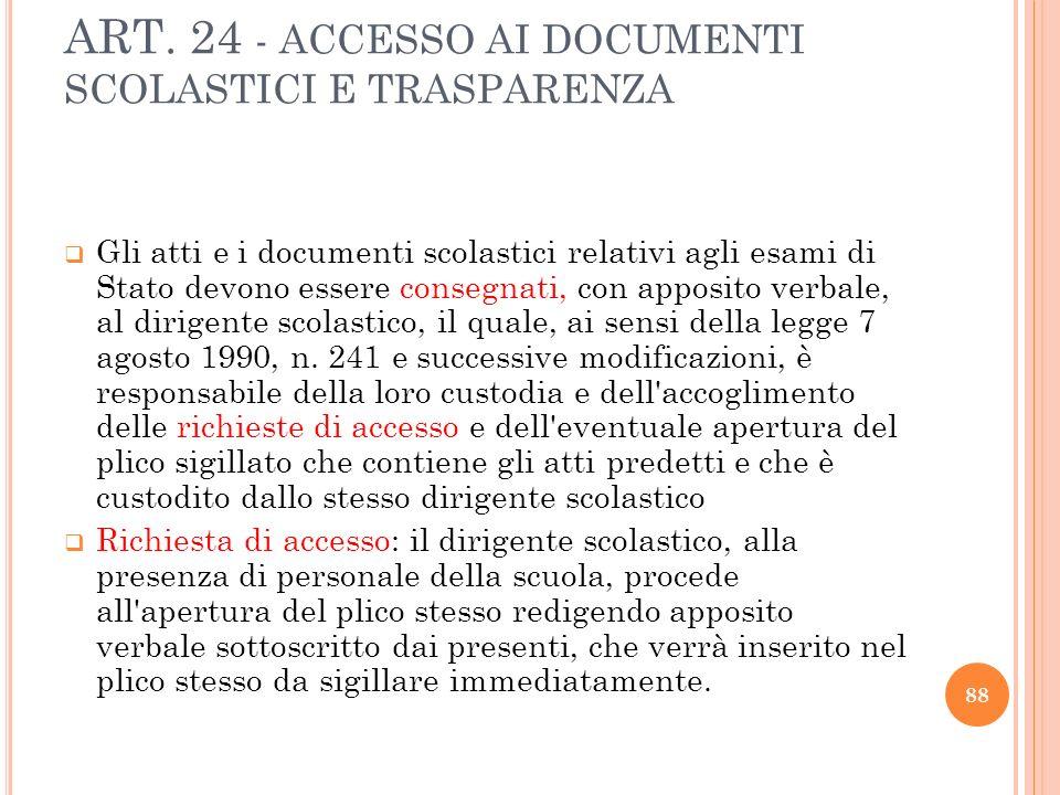 ART. 24 - ACCESSO AI DOCUMENTI SCOLASTICI E TRASPARENZA