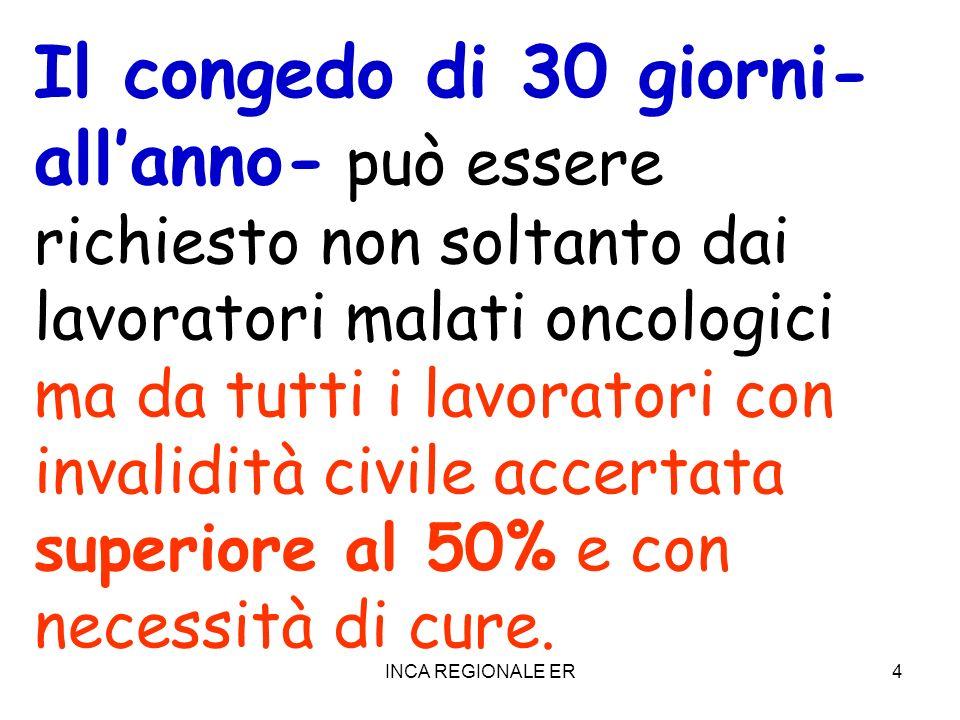 Il congedo di 30 giorni- all'anno- può essere richiesto non soltanto dai lavoratori malati oncologici ma da tutti i lavoratori con invalidità civile accertata superiore al 50% e con necessità di cure.