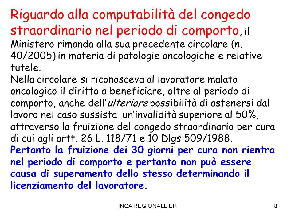 Riguardo alla computabilità del congedo straordinario nel periodo di comporto, il Ministero rimanda alla sua precedente circolare (n. 40/2005) in materia di patologie oncologiche e relative tutele.