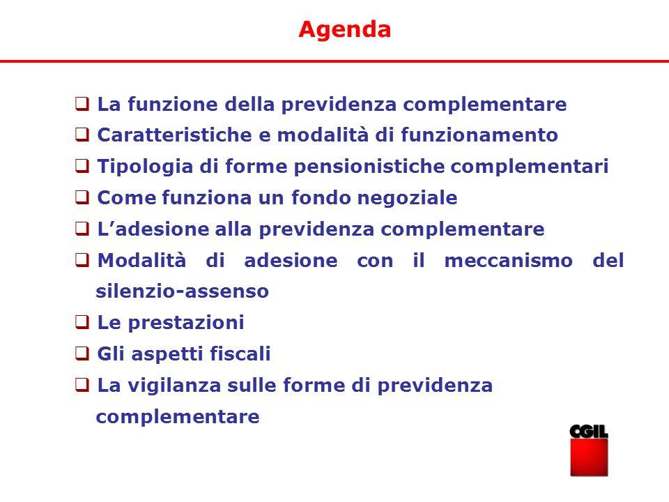 Agenda La funzione della previdenza complementare