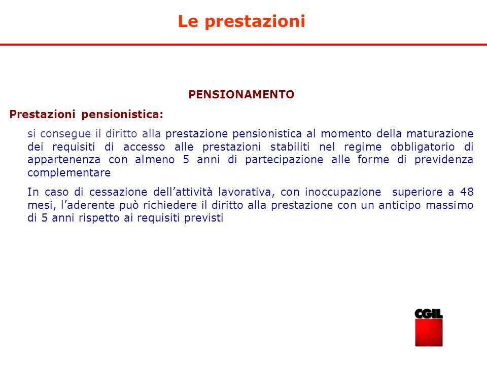 Le prestazioni PENSIONAMENTO Prestazioni pensionistica: