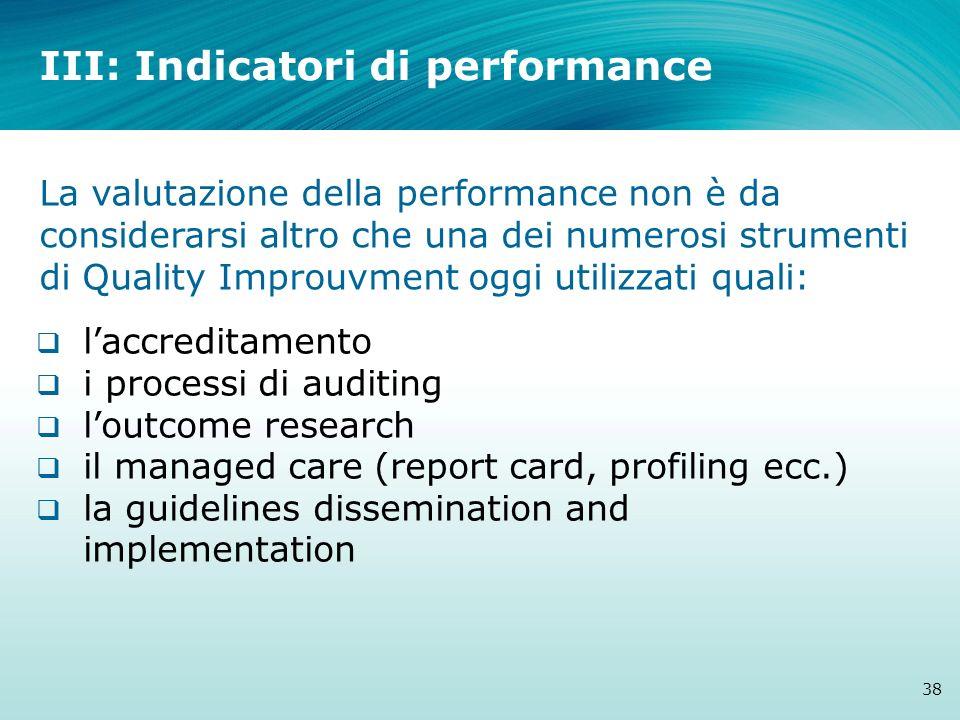 III: Indicatori di performance