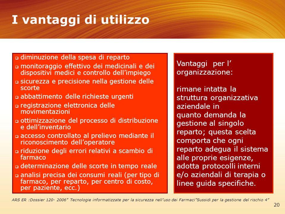 I vantaggi di utilizzo Vantaggi per l' organizzazione:
