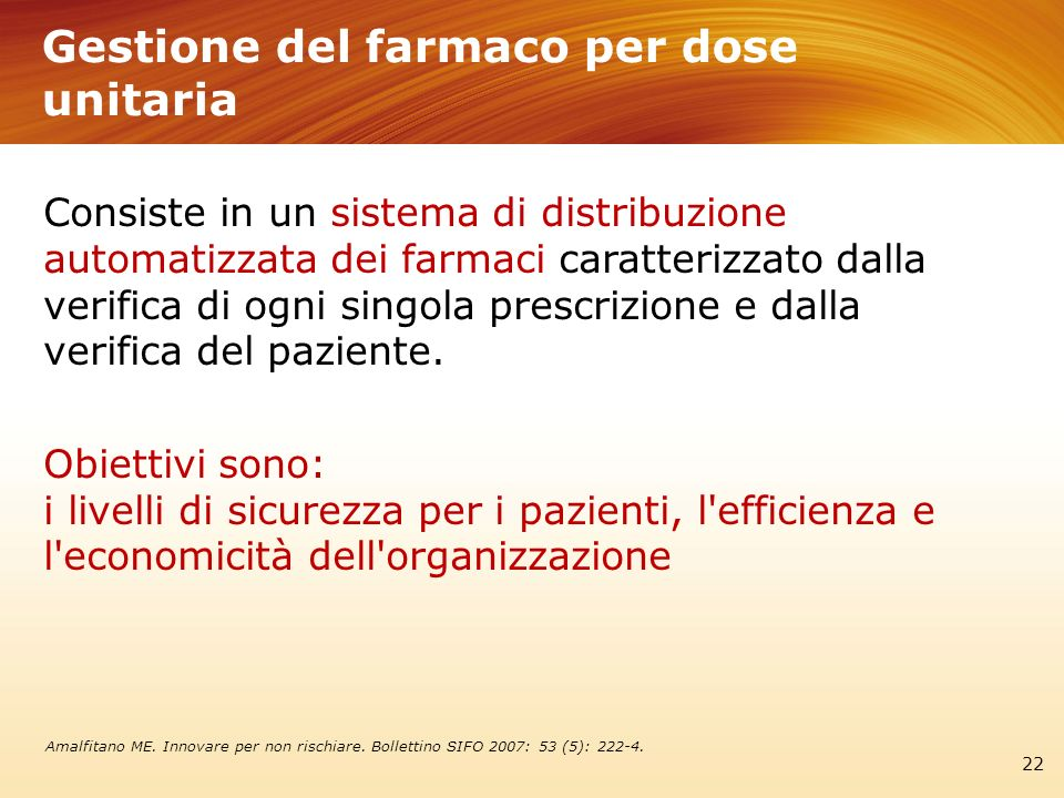 Gestione del farmaco per dose unitaria