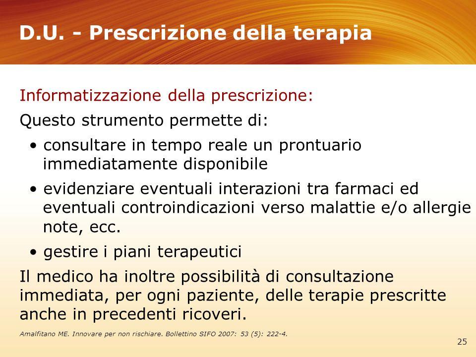 D.U. - Prescrizione della terapia