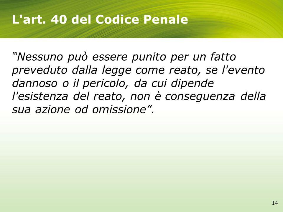 L art. 40 del Codice Penale