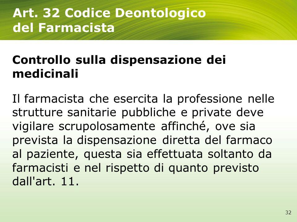 Art. 32 Codice Deontologico del Farmacista