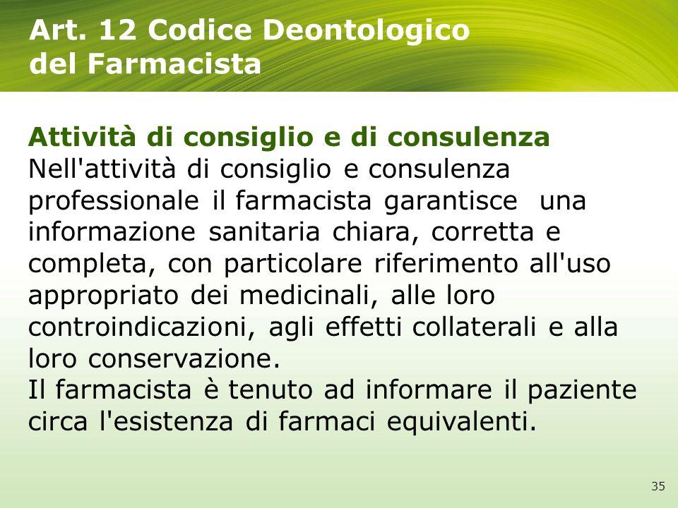 Art. 12 Codice Deontologico del Farmacista