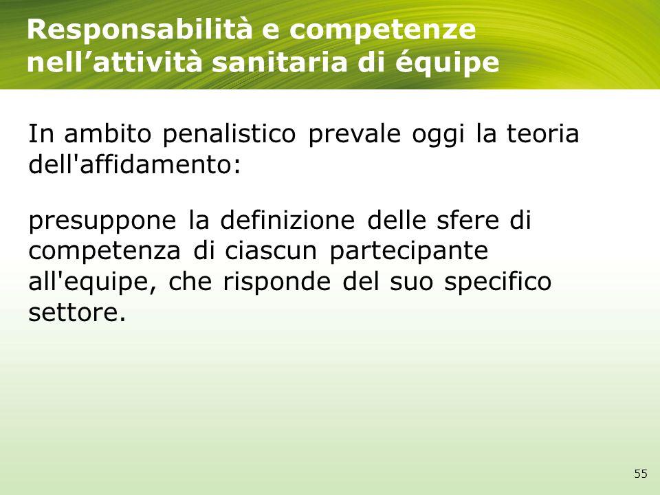 Responsabilità e competenze nell'attività sanitaria di équipe