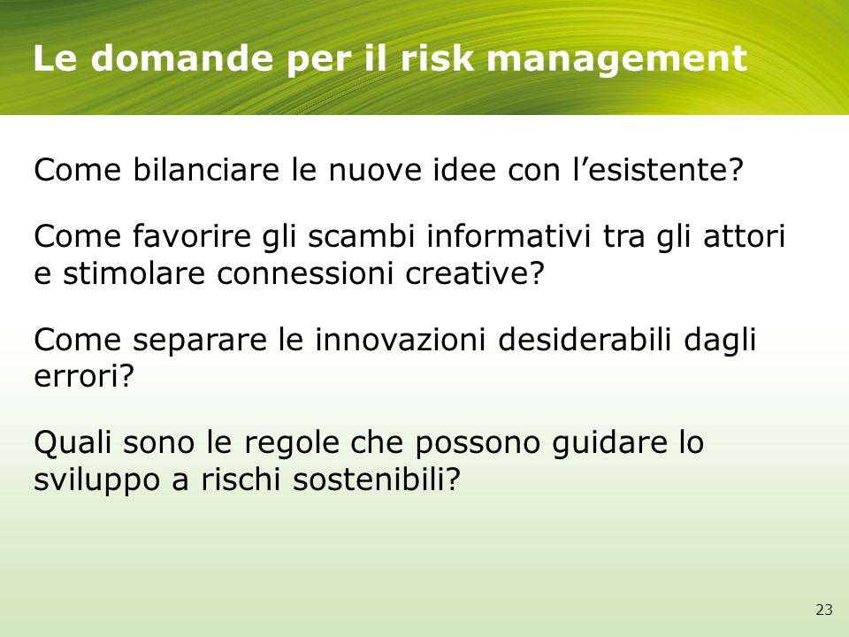 Le domande per il risk management