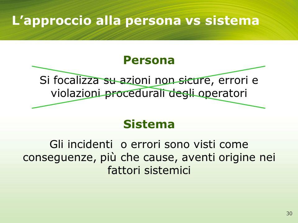 L'approccio alla persona vs sistema