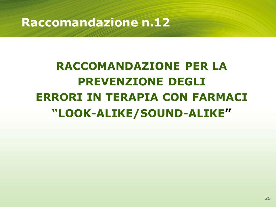 Raccomandazione n.12RACCOMANDAZIONE PER LA PREVENZIONE DEGLI ERRORI IN TERAPIA CON FARMACI LOOK-ALIKE/SOUND-ALIKE