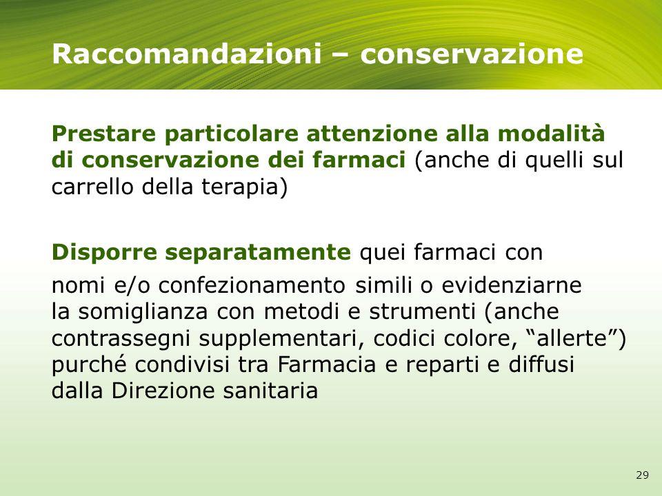Raccomandazioni – conservazione