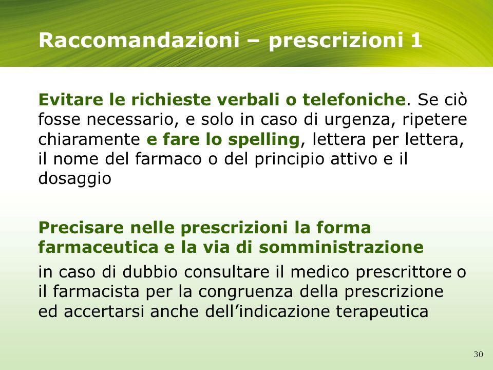 Raccomandazioni – prescrizioni 1
