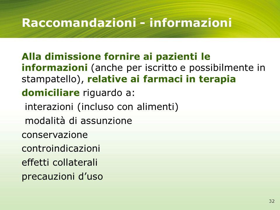 Raccomandazioni - informazioni