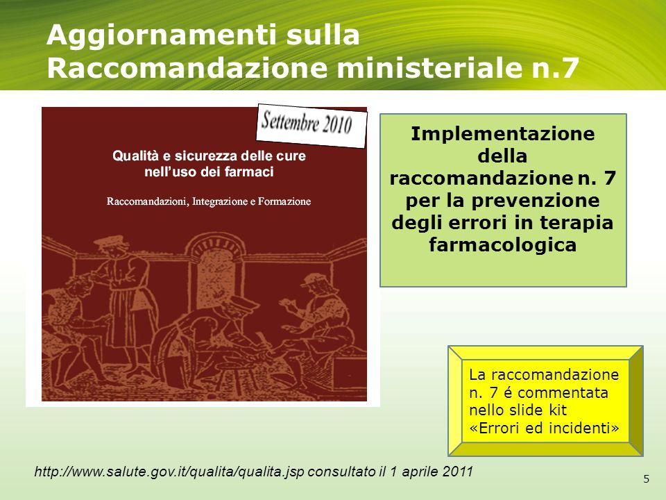 Aggiornamenti sulla Raccomandazione ministeriale n.7