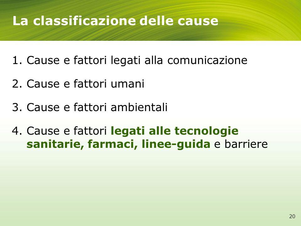 La classificazione delle cause