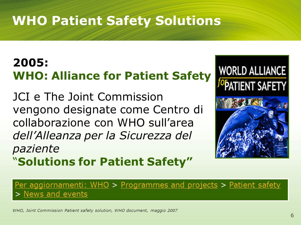 WHO Patient Safety Solutions