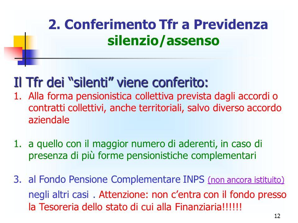 2. Conferimento Tfr a Previdenza silenzio/assenso