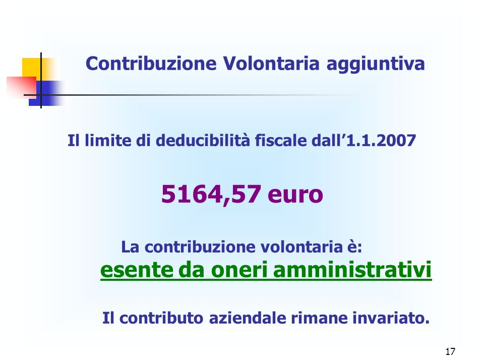 5164,57 euro Contribuzione Volontaria aggiuntiva