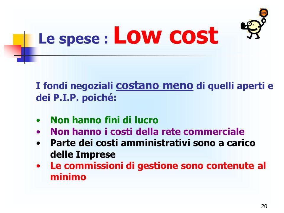 Le spese : Low cost I fondi negoziali costano meno di quelli aperti e