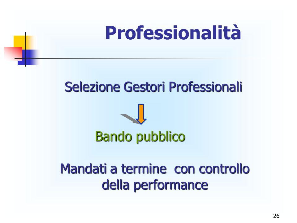 Professionalità Selezione Gestori Professionali Bando pubblico