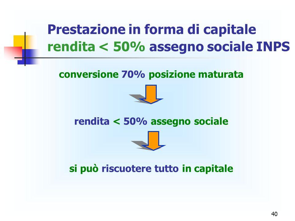 Prestazione in forma di capitale rendita < 50% assegno sociale INPS