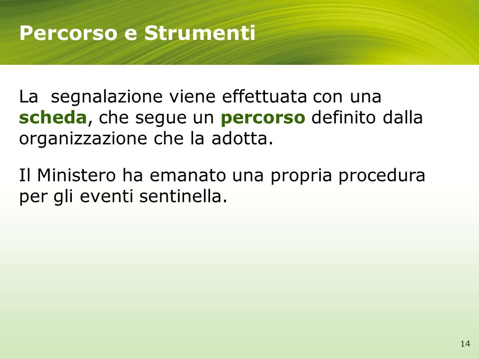 Percorso e Strumenti La segnalazione viene effettuata con una scheda, che segue un percorso definito dalla organizzazione che la adotta.