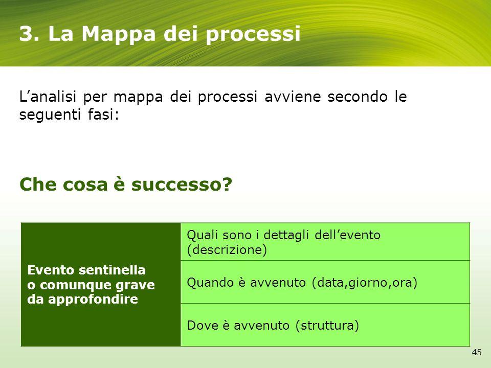 3. La Mappa dei processi Che cosa è successo