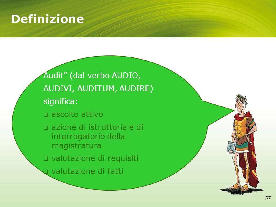 Definizione Audit (dal verbo AUDIO, AUDIVI, AUDITUM, AUDIRE)