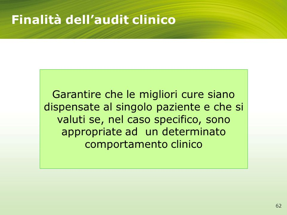 Finalità dell'audit clinico