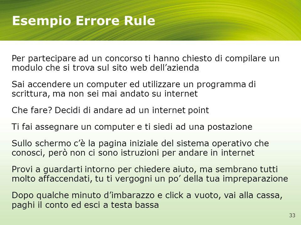 Esempio Errore Rule Per partecipare ad un concorso ti hanno chiesto di compilare un modulo che si trova sul sito web dell'azienda.