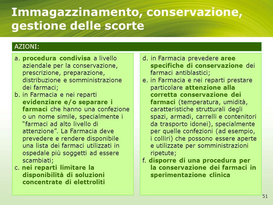Immagazzinamento, conservazione, gestione delle scorte