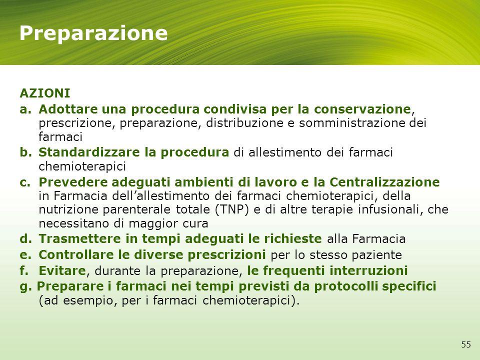 Preparazione AZIONI. Adottare una procedura condivisa per la conservazione, prescrizione, preparazione, distribuzione e somministrazione dei farmaci.