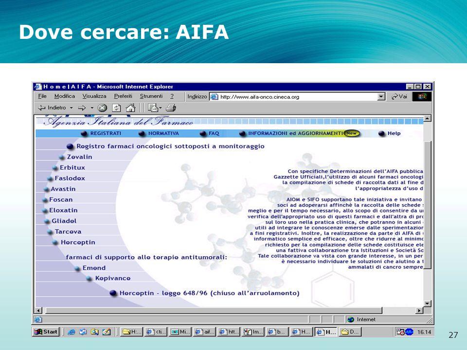 Dove cercare: AIFA a cura di V.Cancellieri- T&C srl