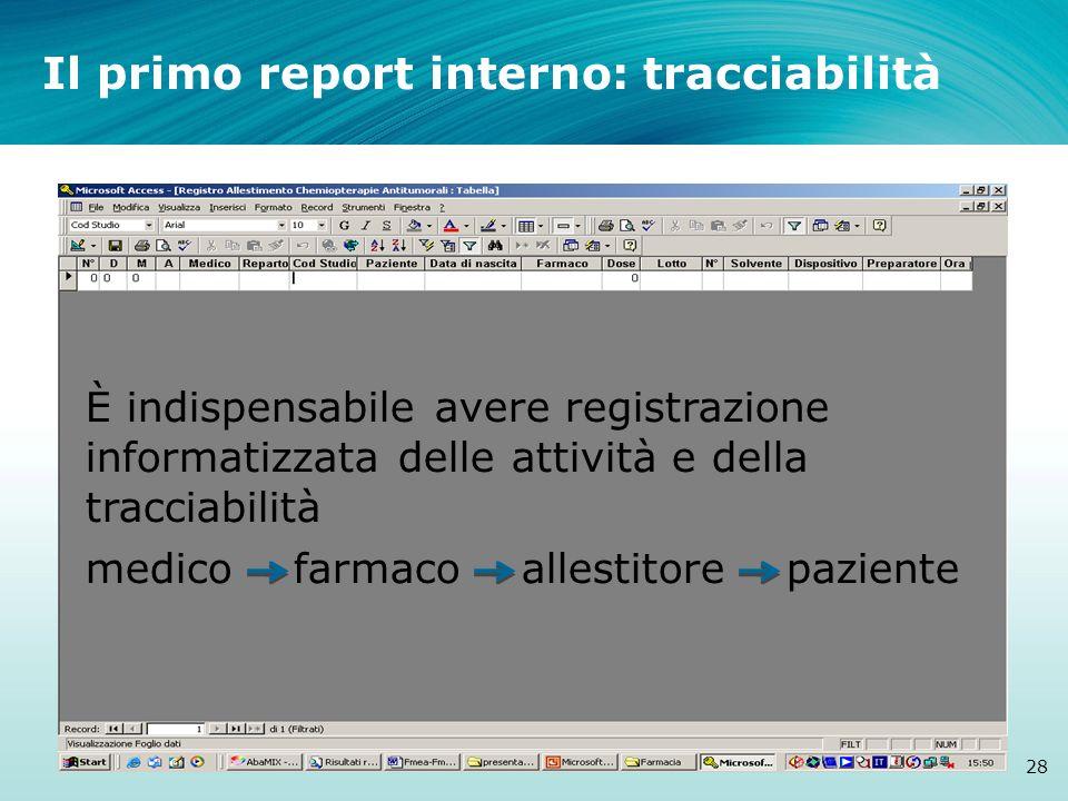 Il primo report interno: tracciabilità