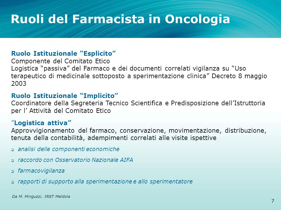 Ruoli del Farmacista in Oncologia