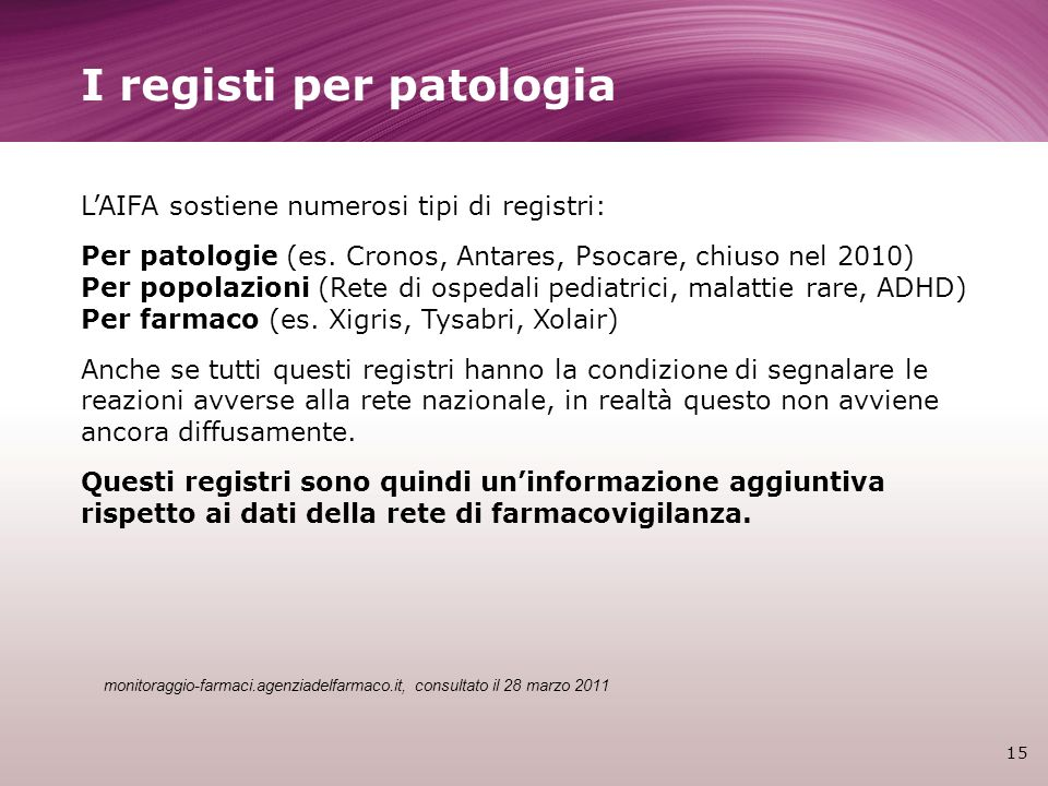 I registi per patologia