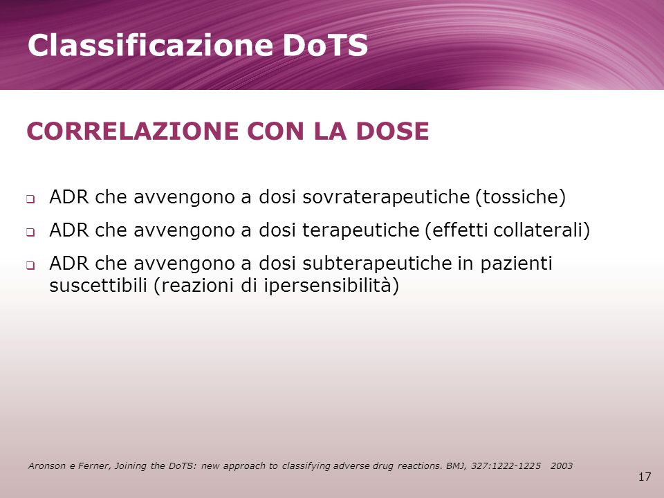 Classificazione DoTS CORRELAZIONE CON LA DOSE