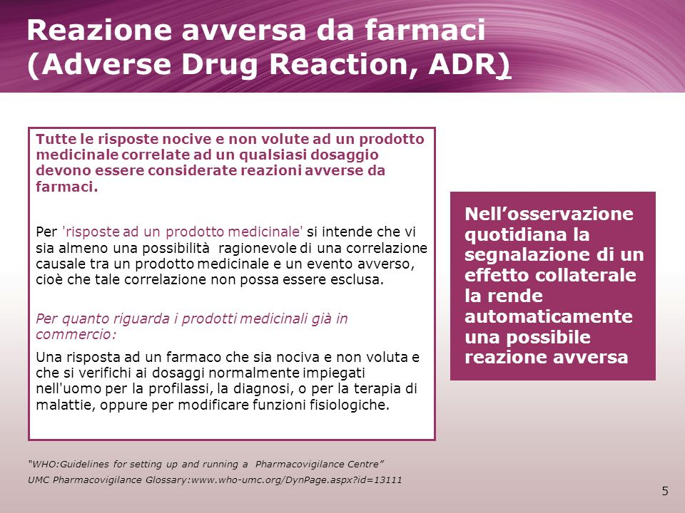 Reazione avversa da farmaci (Adverse Drug Reaction, ADR)