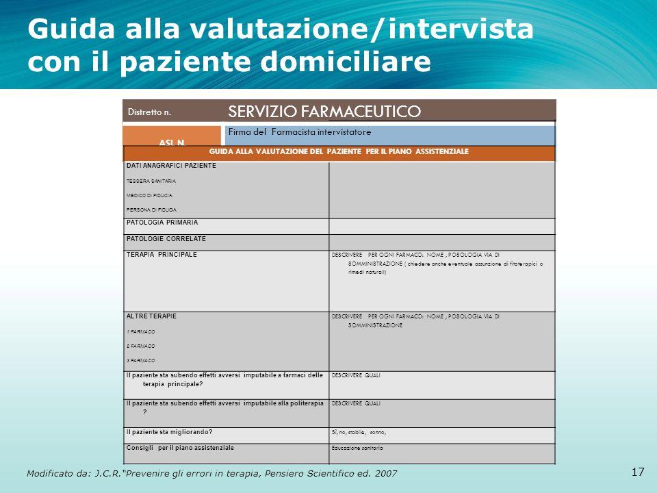 Guida alla valutazione/intervista con il paziente domiciliare