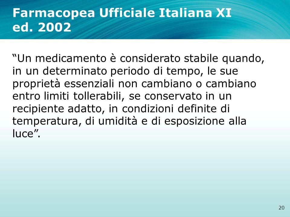 Farmacopea Ufficiale Italiana XI ed. 2002