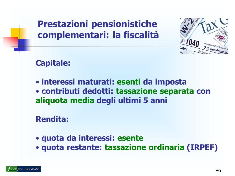 Prestazioni pensionistiche complementari: la fiscalità