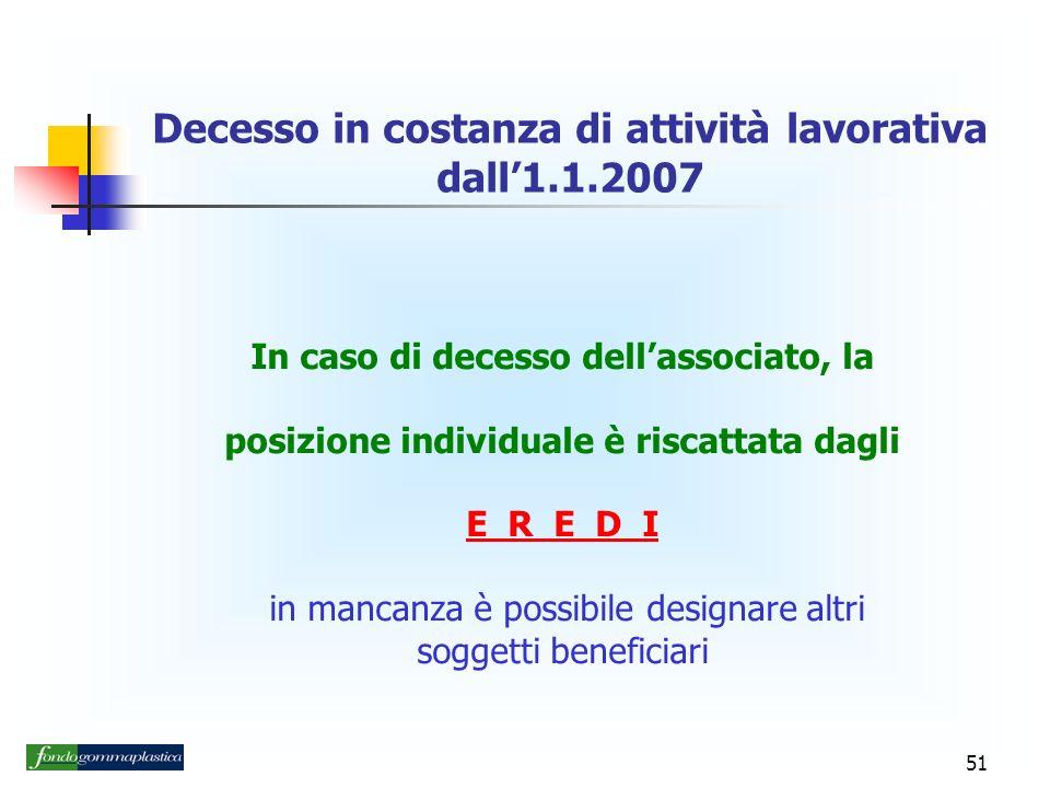 Decesso in costanza di attività lavorativa dall'1.1.2007